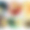 """Les 6 sous verres """"fleurs graphiques modernes"""" en bois mdf et liège naturel"""
