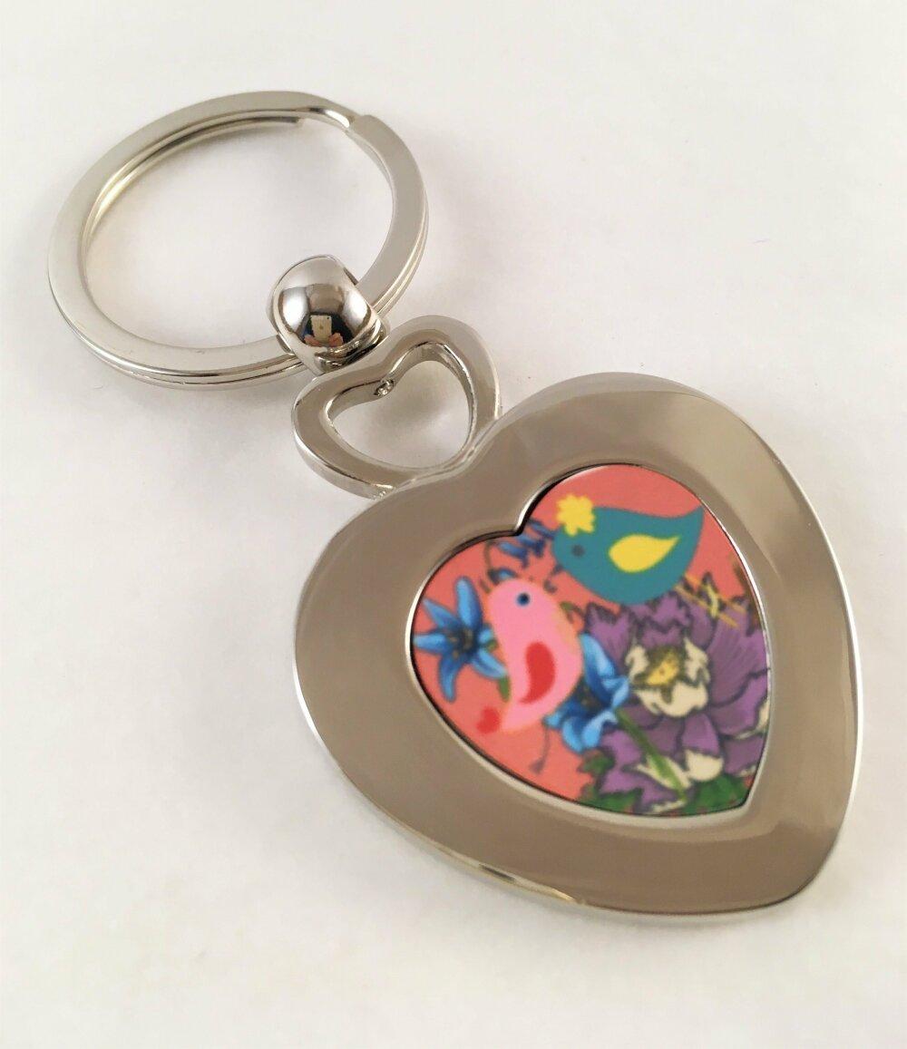 Porte clé en forme cœur