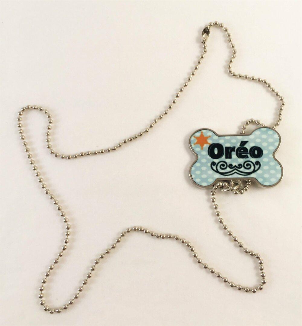 Médaille, Bijoux pour Chien avec chaîne, forme os