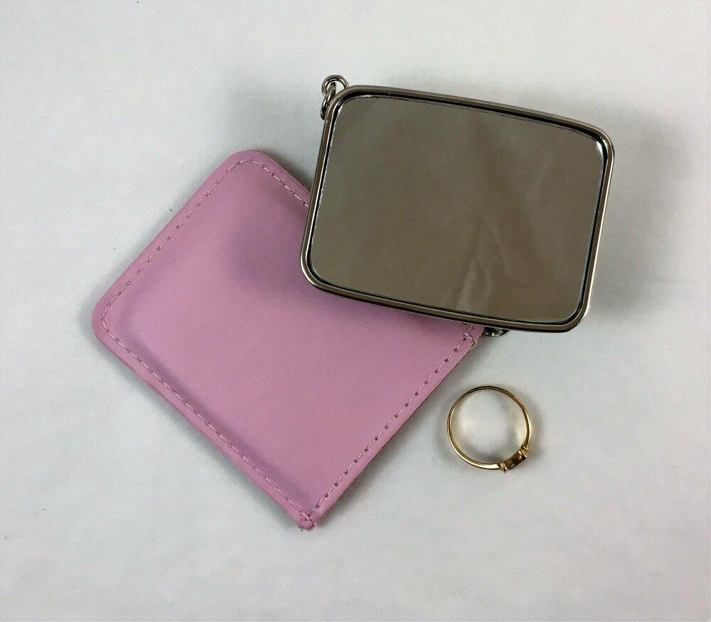 Miroir rectangulaire,miroir de poche,miroir de sac, avec étui et cuir écologique