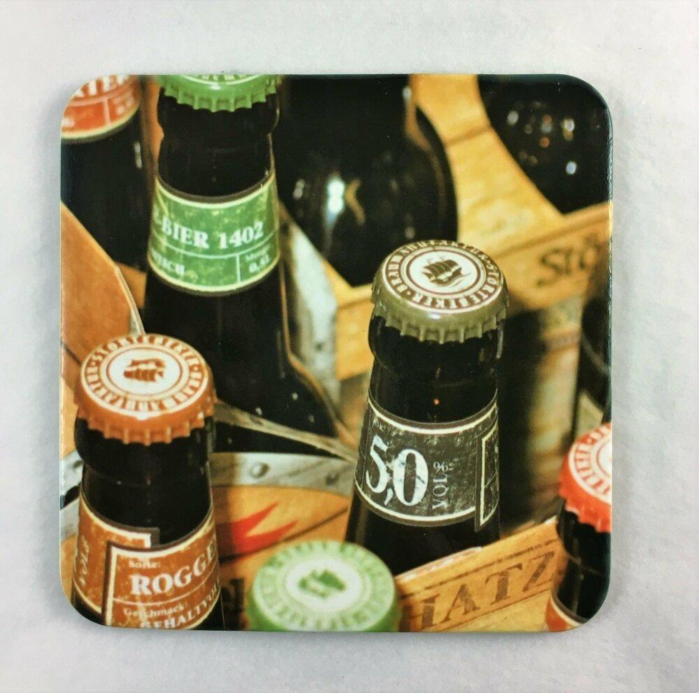 Le Sous-Verre à l'unité, thème de la Bière - Liège naturel, carton laqué