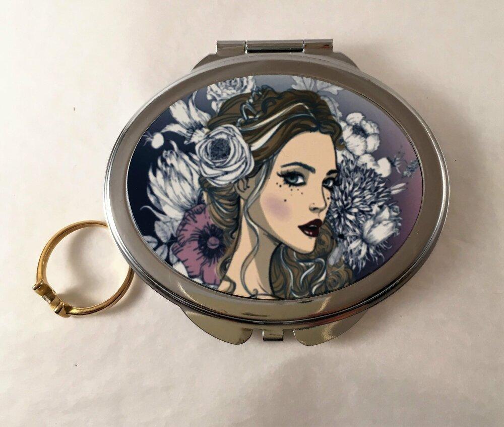 Miroir Ovale de poche, de sac, miroir pliable