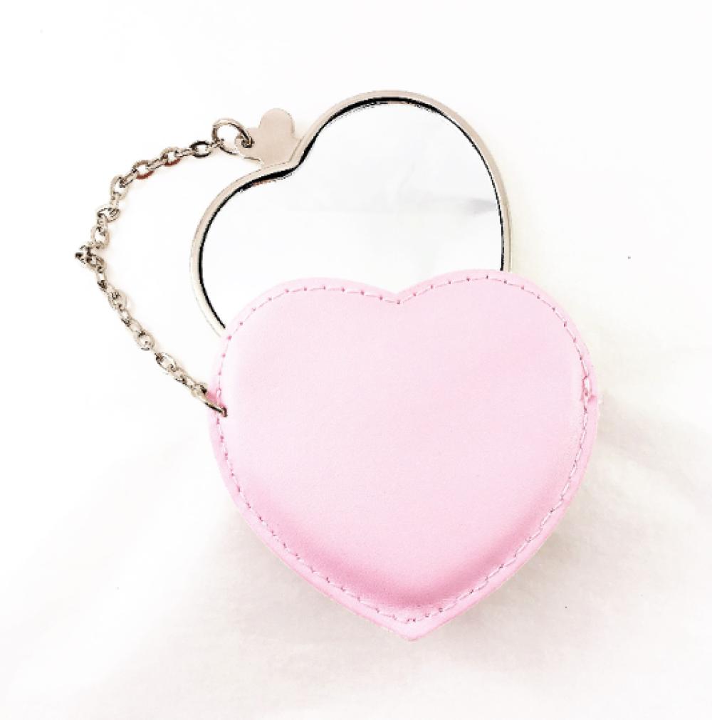 A personnaliser ! Miroir cœur,miroir de poche,miroir de sac, avec étui et cuir écologique