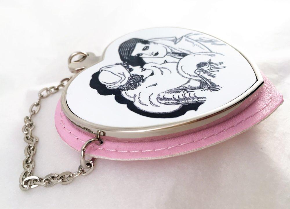 Miroir cœur,miroir de poche,miroir de sac, avec étui et cuir écologique