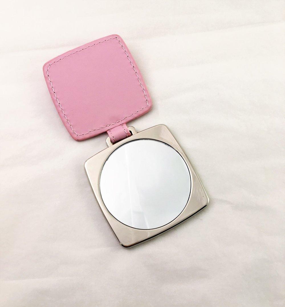 Miroir carré,miroir de poche,miroir de sac,miroir avec étui et cuir écologique