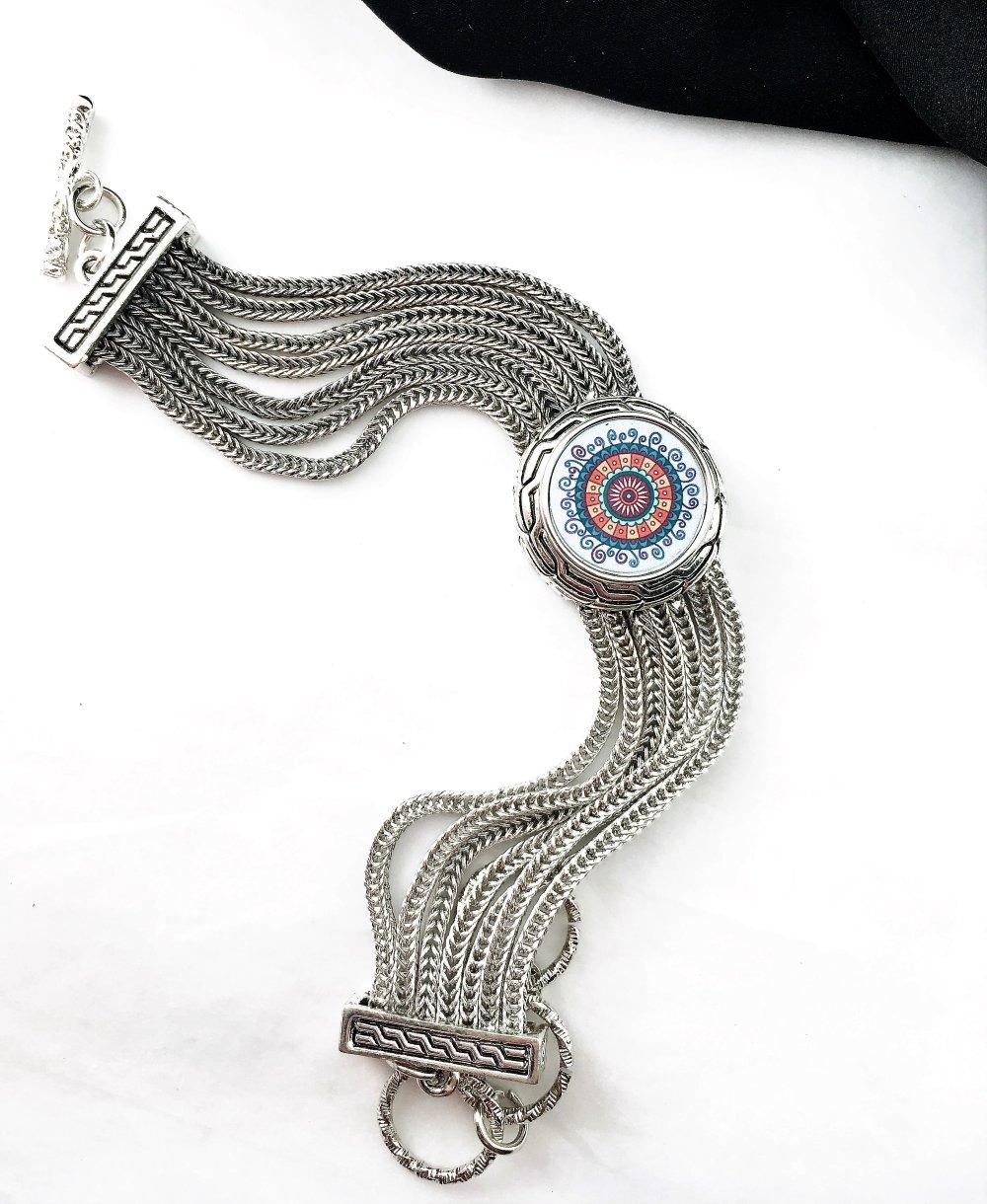 Bracelet métallique - Chaînes Multi-rangs - Acier-