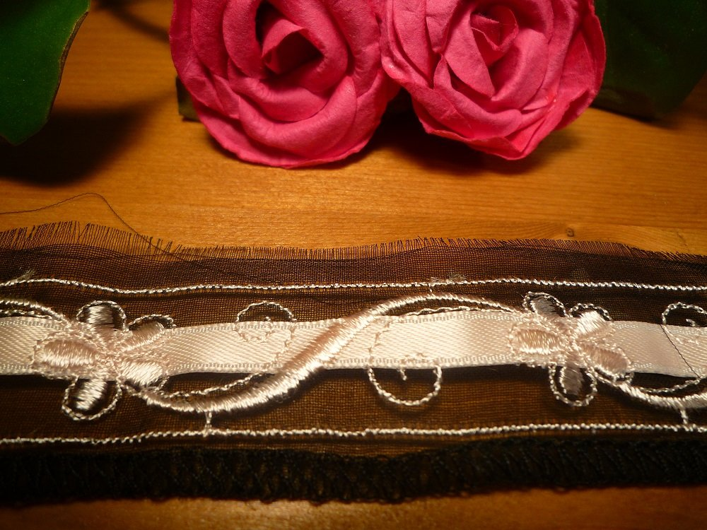 Galon motifs rose pale sur tulle noir - 2,00 m