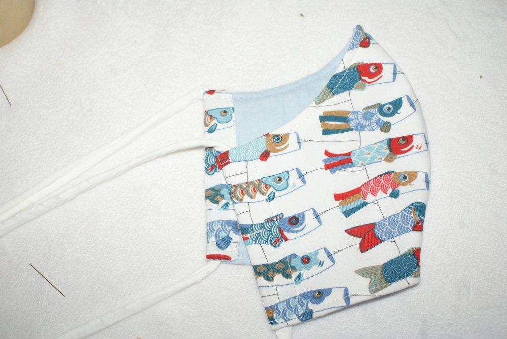 masque homme tissu coton poissons lampions tons bleus