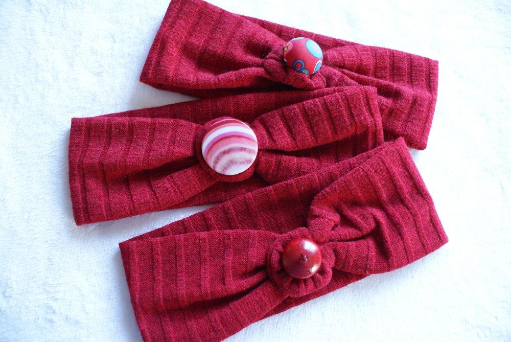 bandeau jersey cotelé  rouge bordeaux  uni