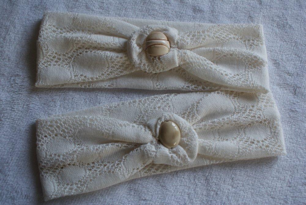 bandeau jersey mailles dentelle blanc cassé