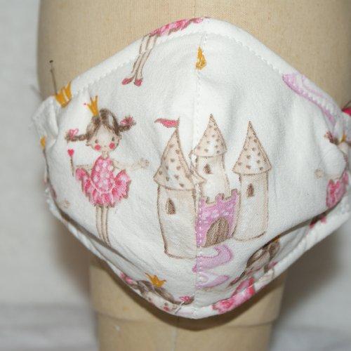 Masque enfant 4-6ans  en tissu imprimé theme princesse rose et blanc