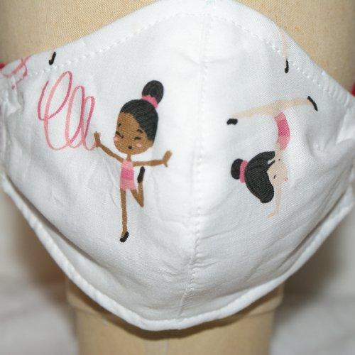 Masque enfant 4-6ans  en tissu imprimé dance rytmique  rose et blanc