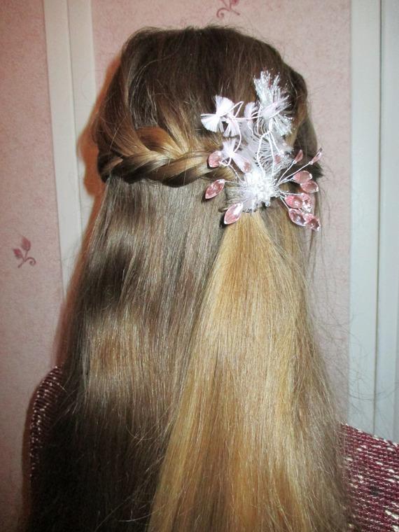 Bijoux Cheveux Sucre D Orge En Strass Rose Translucide Et Blanc