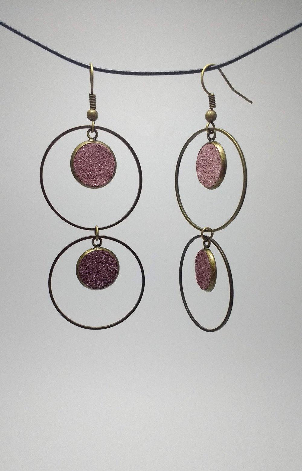 Boucles d'oreilles rondes médaillons cuir