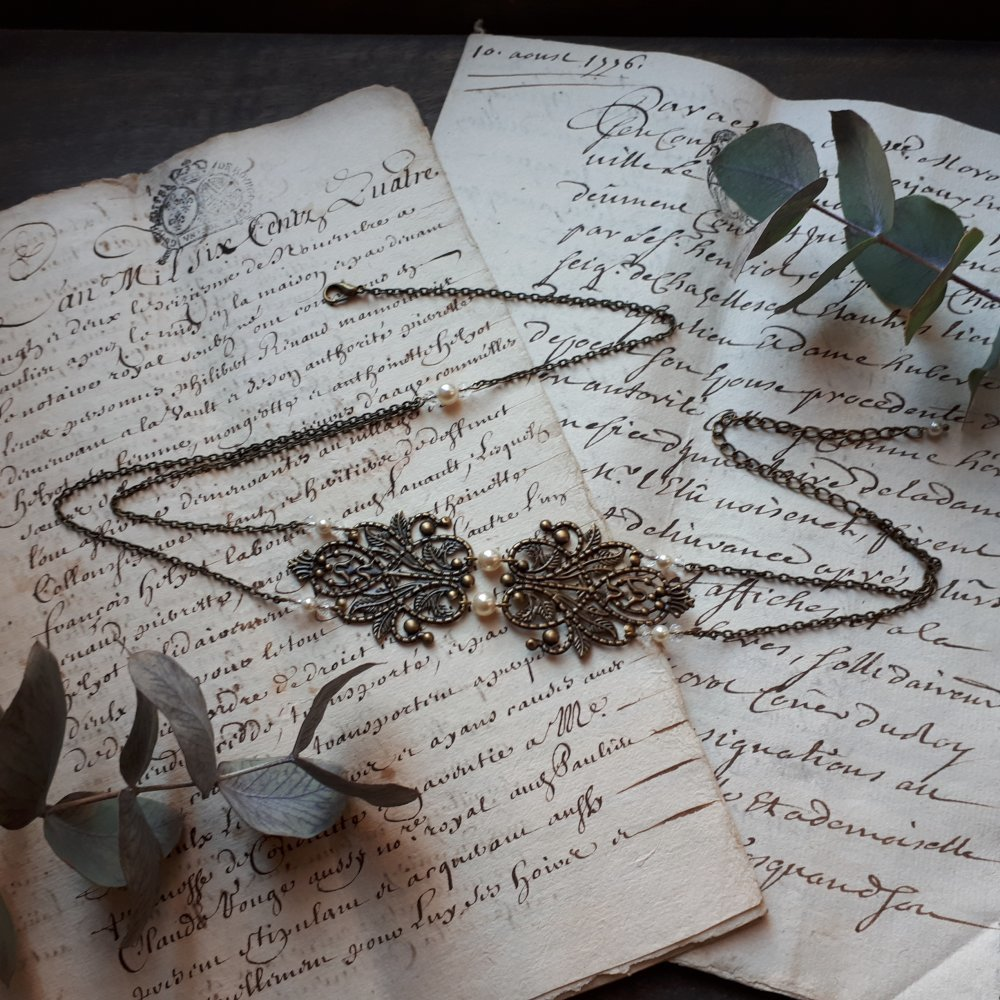 Chloé – Headband bronze pour mariage avec perles swarovski blanc