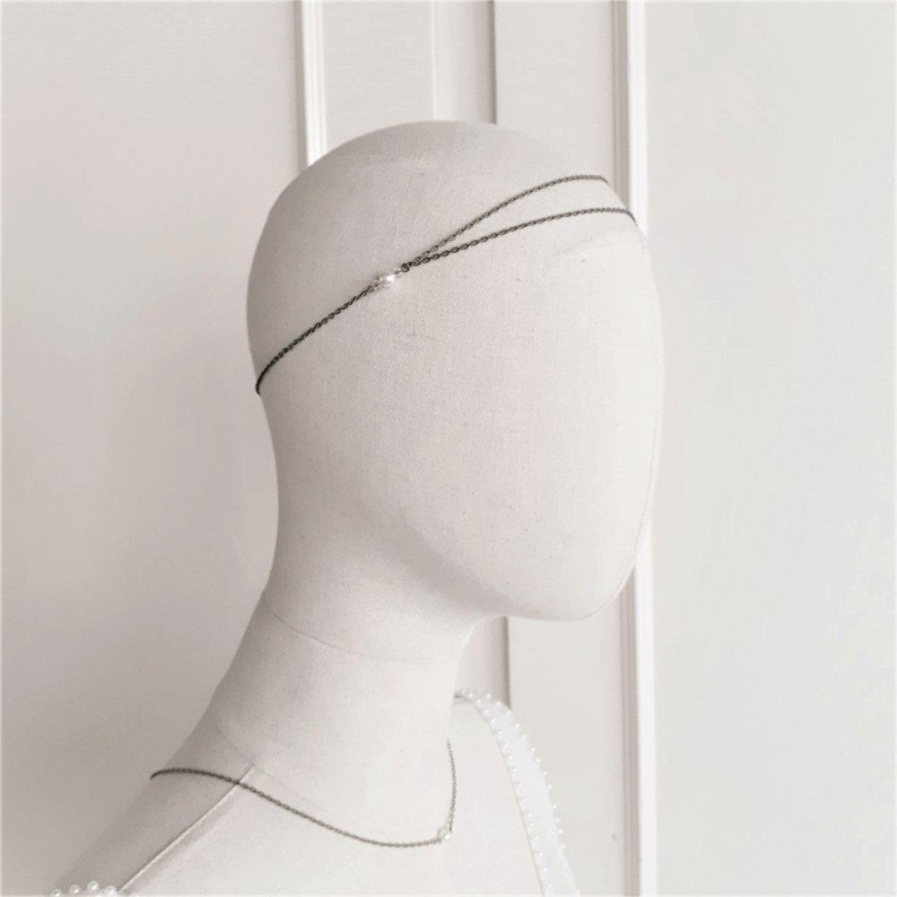 Chloé – headband bronze pour mariage avec perles swarovski crème