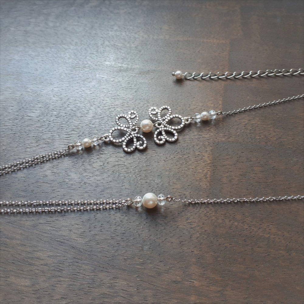 Amandine – headband argenté vieilli pour mariage avec perles swarovski crème