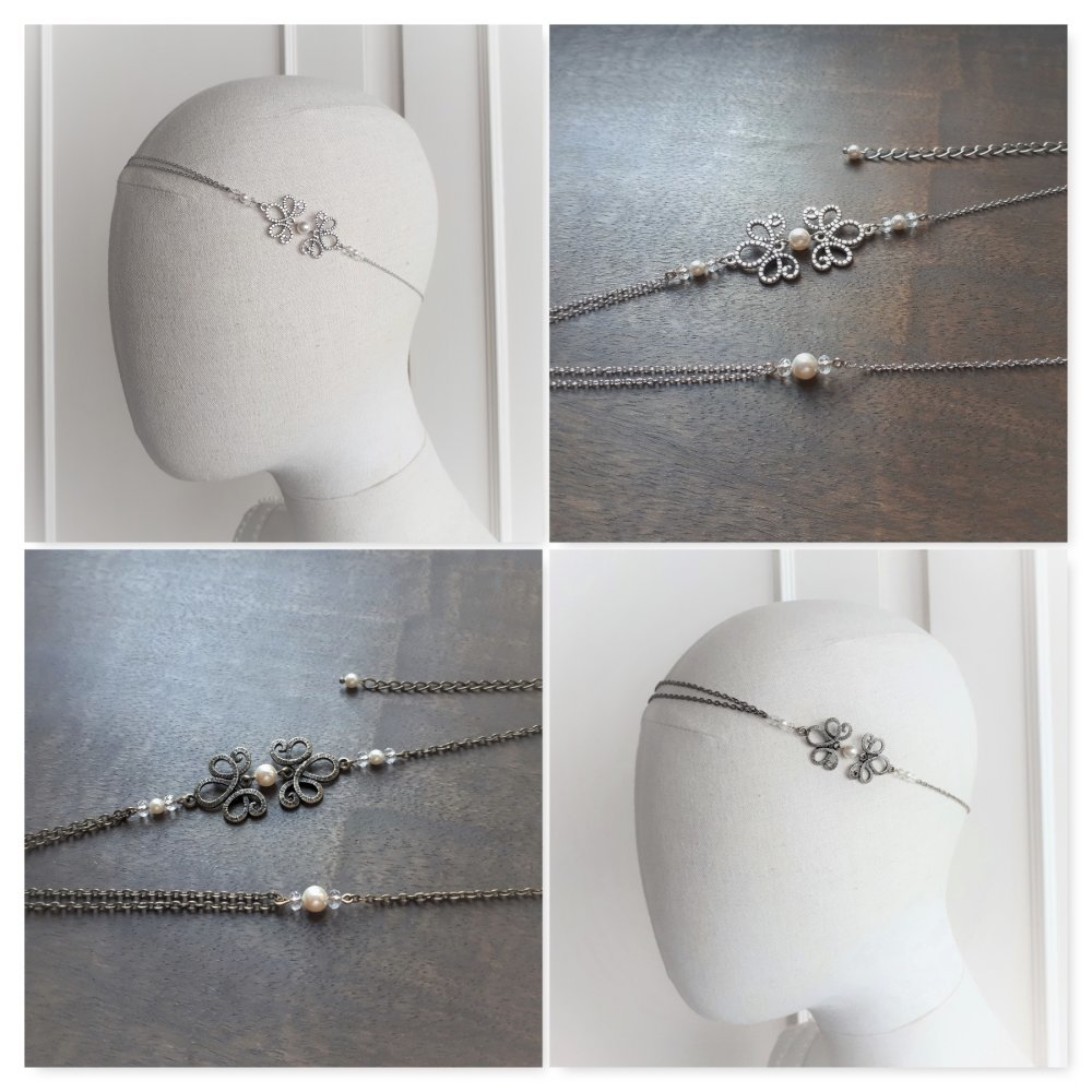 Amandine – headband bronze pour mariage avec perles swarovski blanc