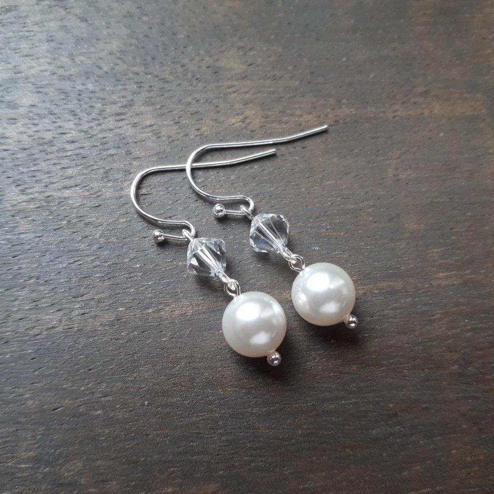 Pearl – Boucles d'oreilles argentées pour mariage avec perles swarovski blanc