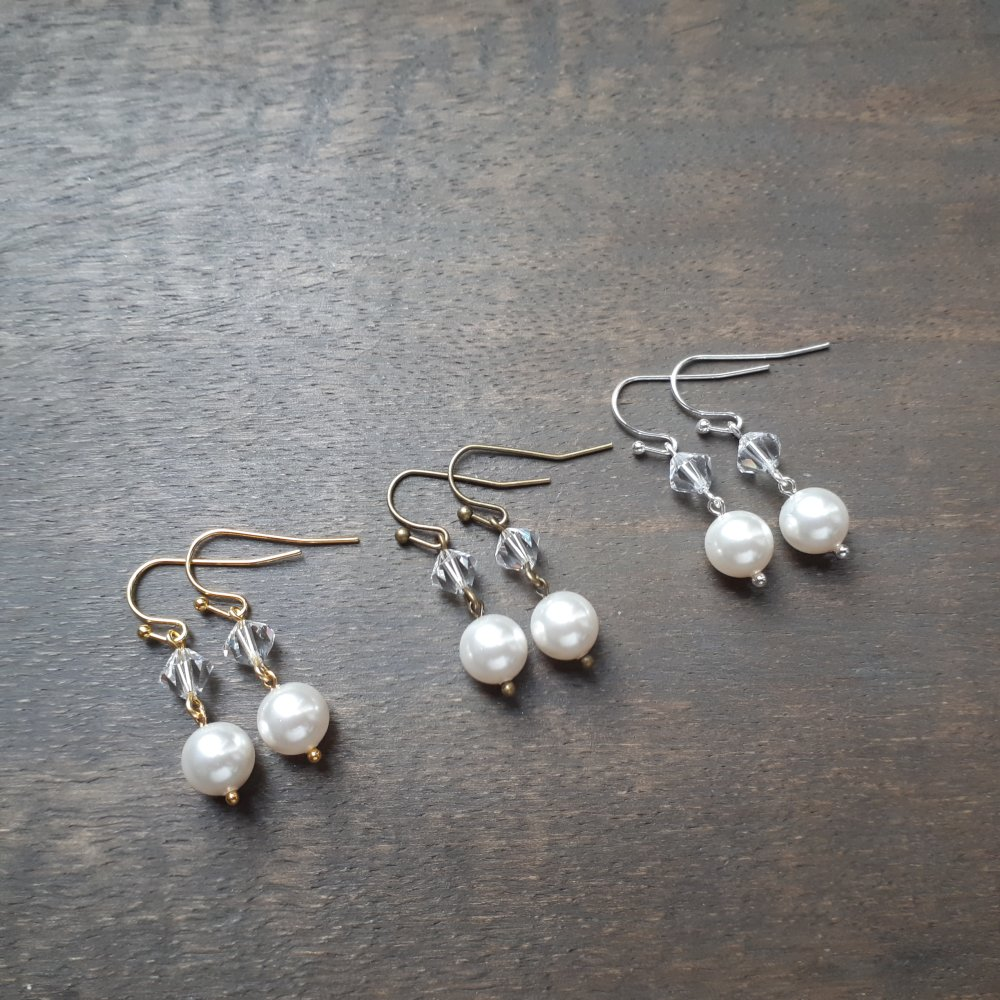 Pearl – boucles d'oreilles dorées pour mariage avec perles swarovski blanc