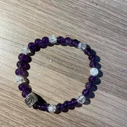 Bracelet amethyste et cristal de roche craquelé