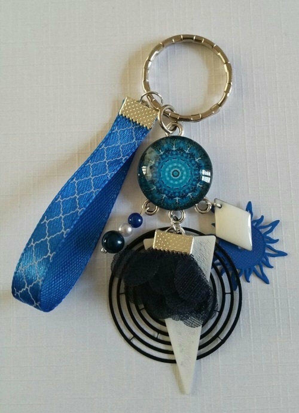 Porte-clés Mandala bleu