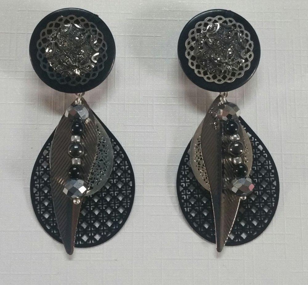 Boucles d'oreilles Festive noire argentée