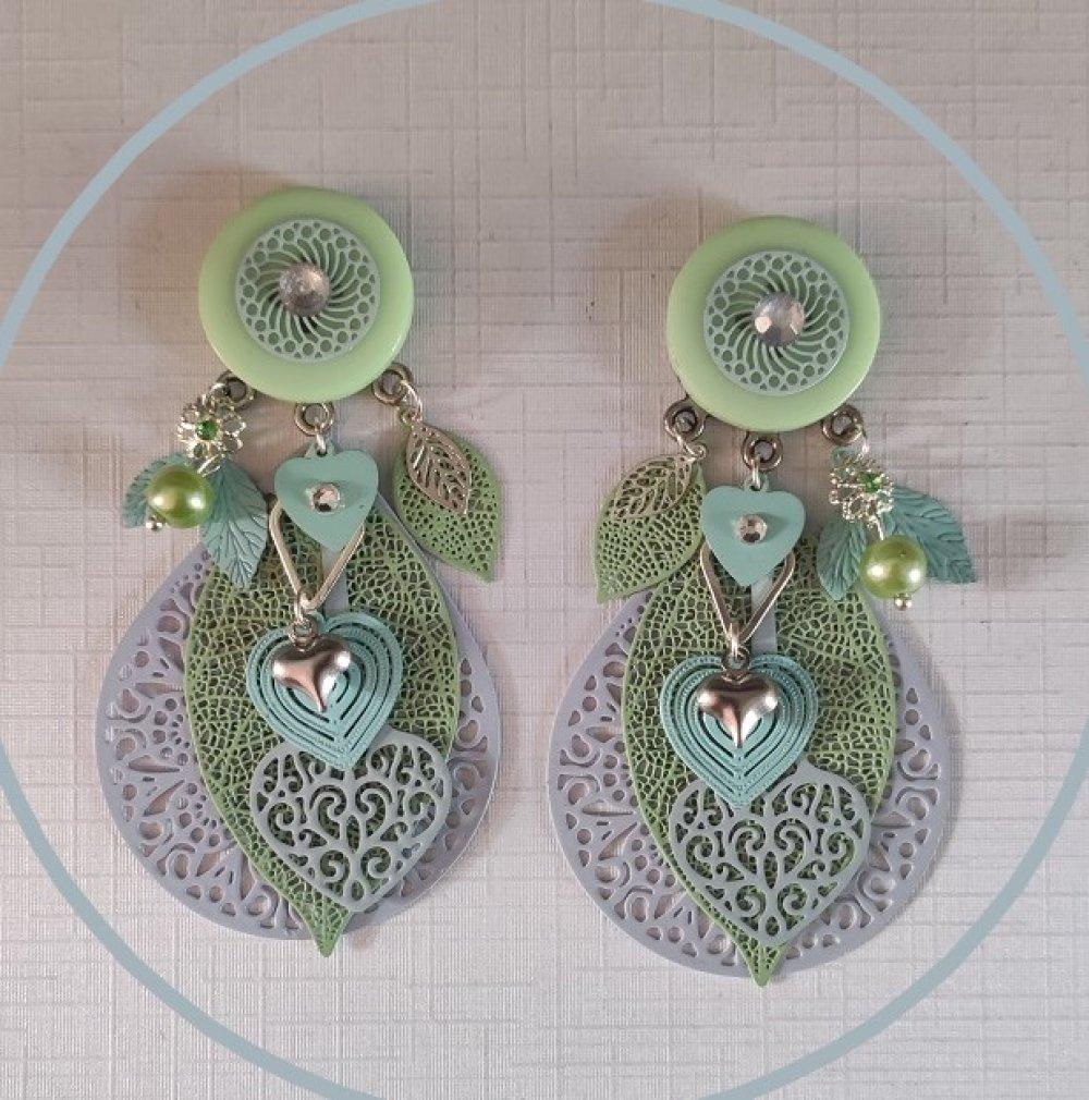 Boucles d'oreilles Bleu Vert