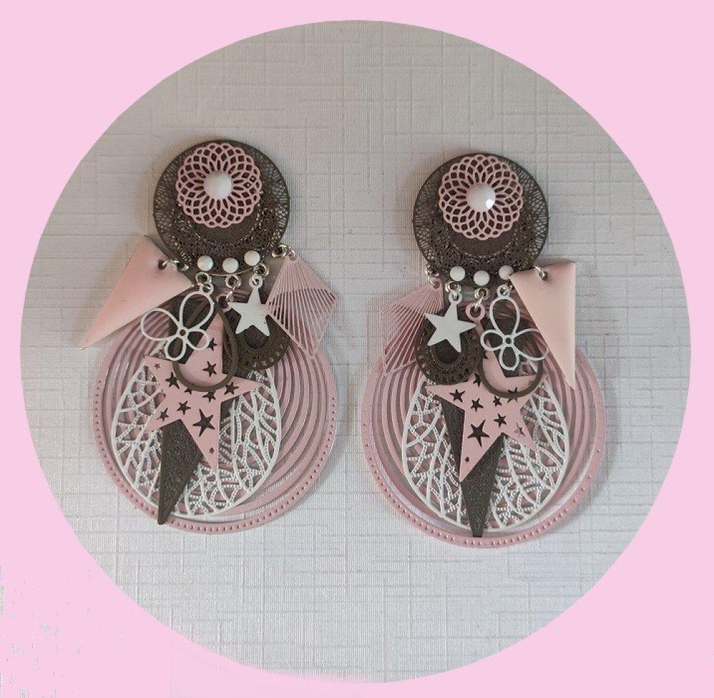 Boucles d'oreilles Rose Taupe