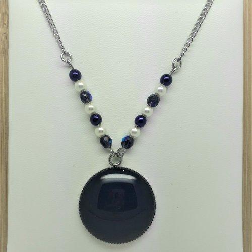 Collier acier inoxydable violet