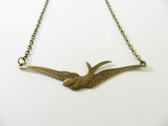 Collier plastron bronze ras de cou  oiseau