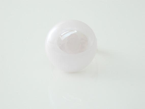Bague réglable cabochon galet verre rose  irisé  argenté