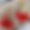 Boucle d'oreille pendante doré poisson chat rouge
