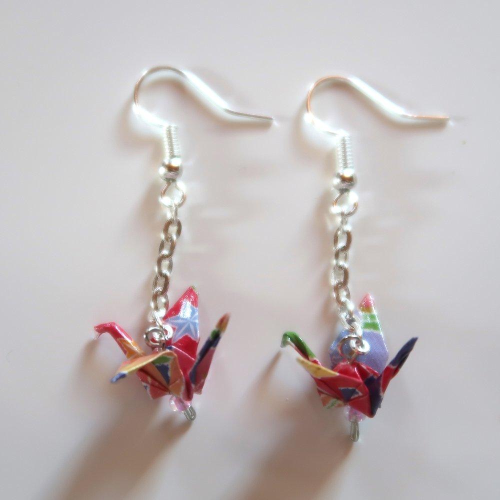 Boucles d'oreille origami grue chaînette, bijou origami