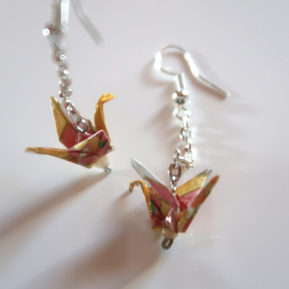 Boucles d'oreille grue origami chaînette, bijou origami