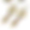 Boucles d'oreilles ethniques perles marron - apprêts  bronze