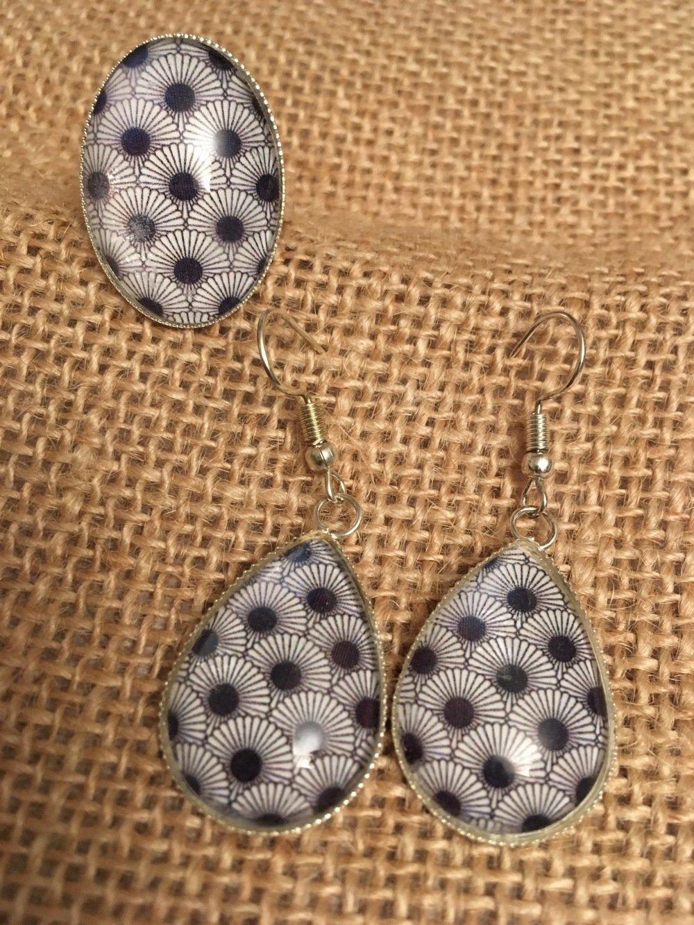 Parure boucles et bagues motif couleur bleue - Les Bijoux de Melou