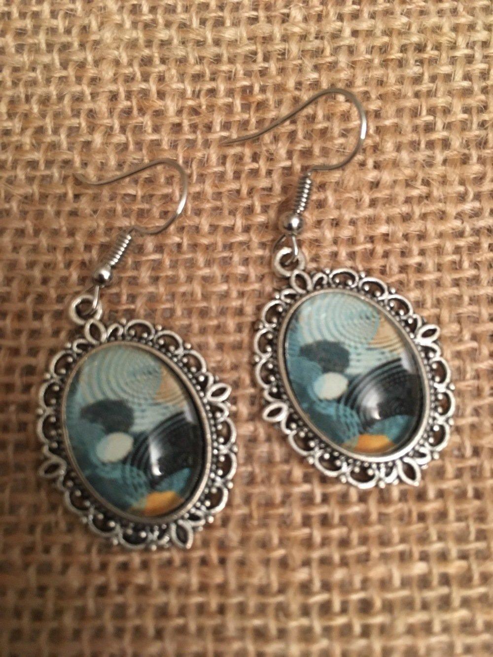 Boucles oreilles cabochons vintage motif bleu - les Bijoux de Melou