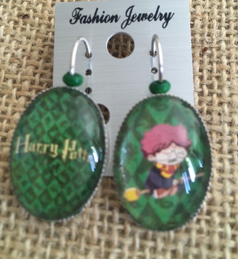 Boucles oreilles cabochons dormeuses Harry potter vert - Les Bijoux de Melou