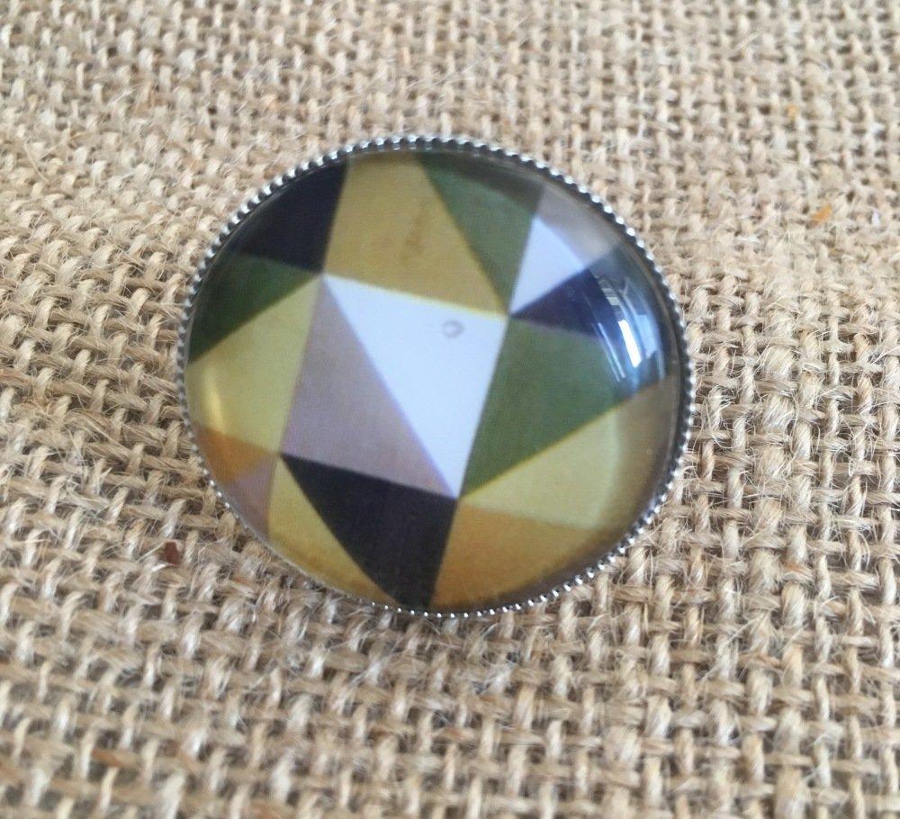 Bague cabochon forme géométrique verte - Les Bijoux de Melou