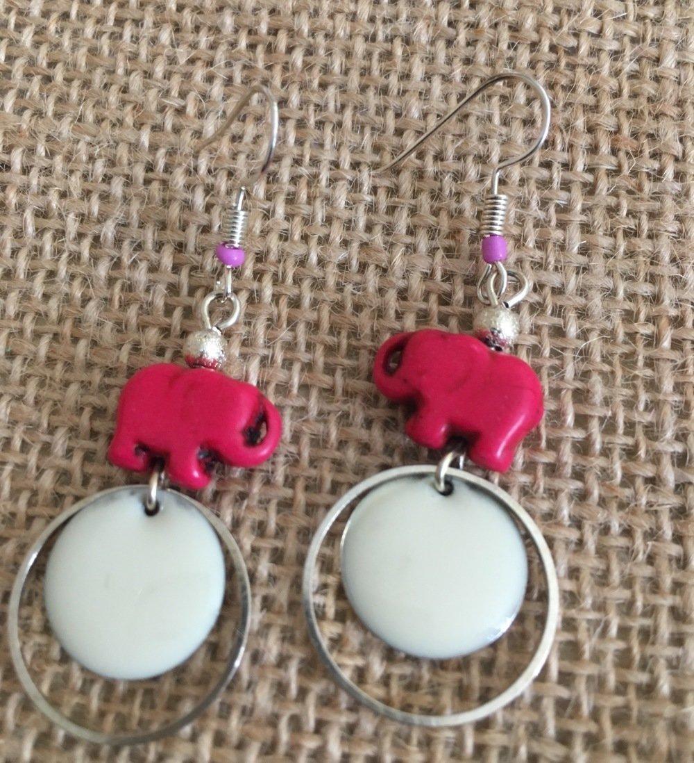 Boucles oreilles pendantes sequins éléphants  - Les Bijoux de Melou