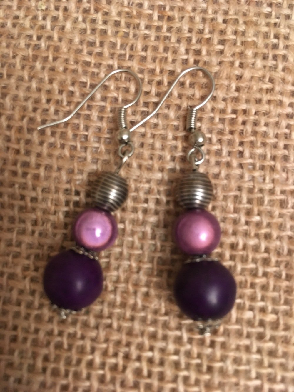 Boucles oreilles violet parme  - les Bijoux de Melou