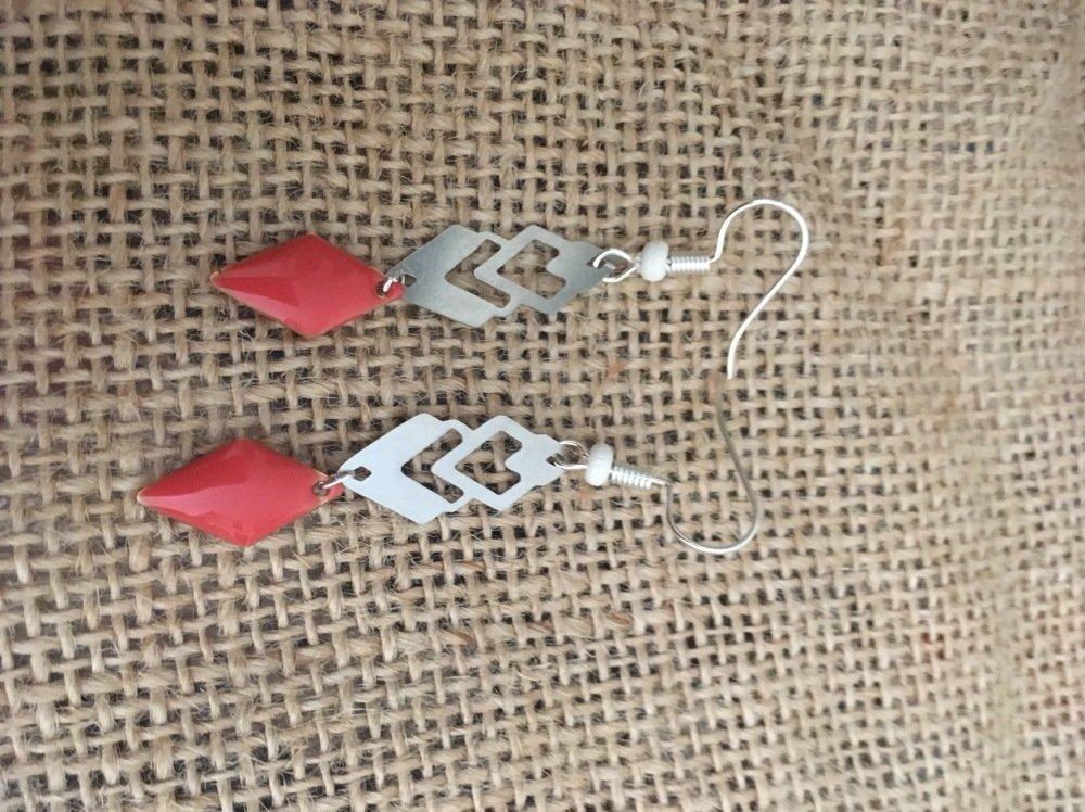 Boucles oreilles pendantes sequins corail les bijoux de Melou