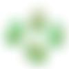 1 cabochon ovale 18x25mm en résine feuille doré vert