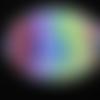 Broche ovale, motifs multicolores, sertie en résine / taille 30mmx40mm