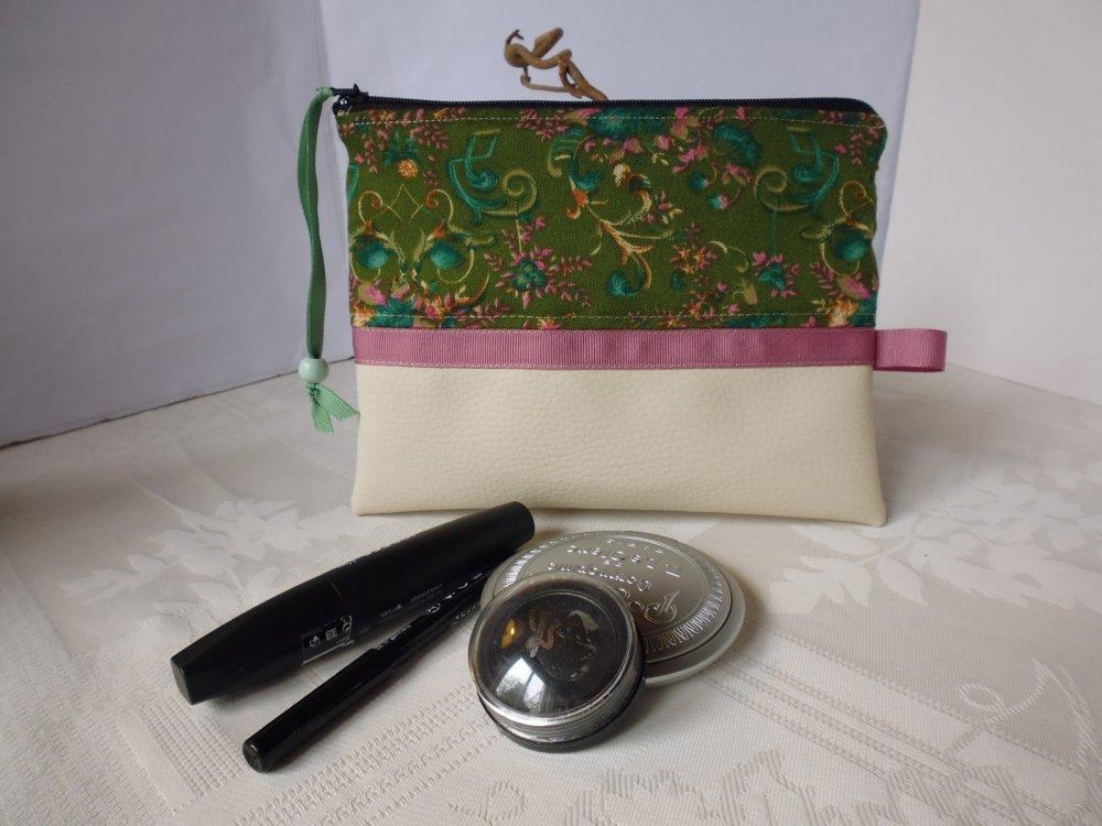 Trousse Maquillage en Simili Cuir et Tissu Vert Style Bohème