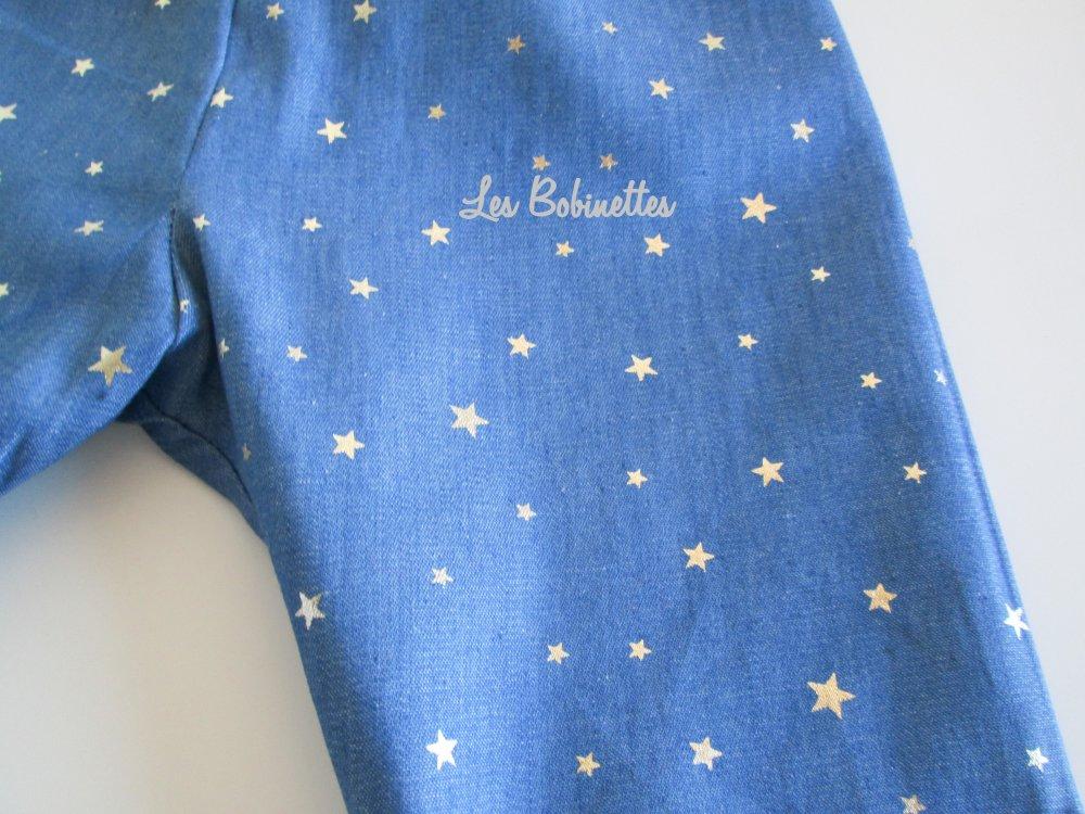 Jeans souple bébé reversible - thème étoiles argentées