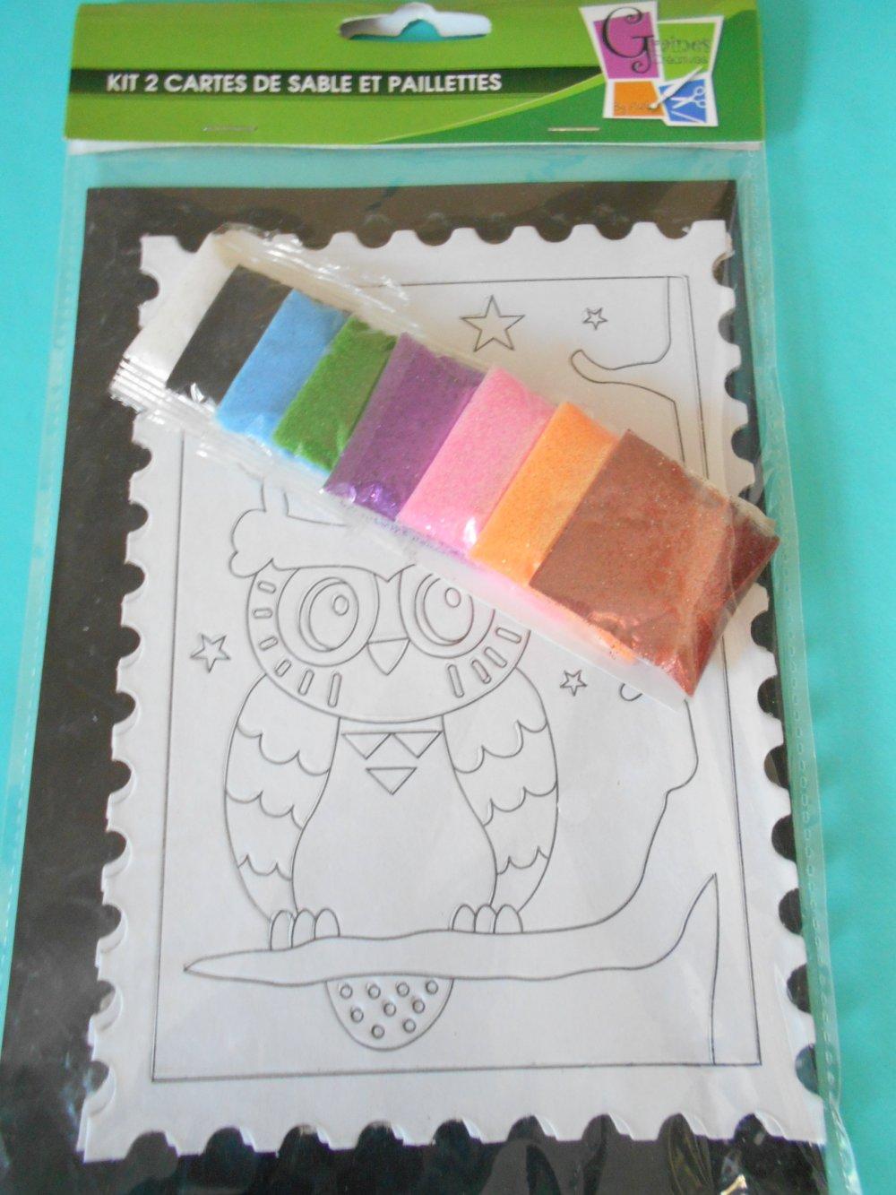 Kit créatif deux cartes de sable animaux