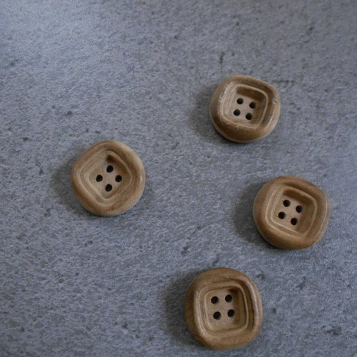 Lot 4 boutons rond bois