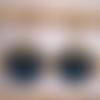 Boucles d'oreilles cuir bleu, anneau et sequin doré